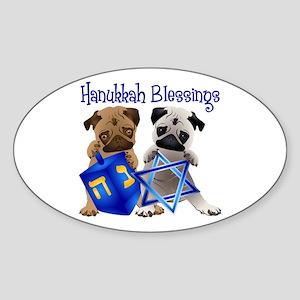 Hanukkah Blessings Sticker (Oval)