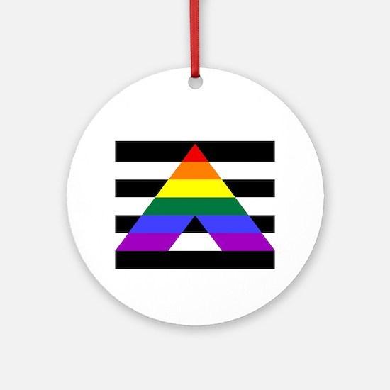 Straight Ally flag Round Ornament