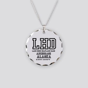 AIRPORT CODES - LHD - LAKE H Necklace Circle Charm