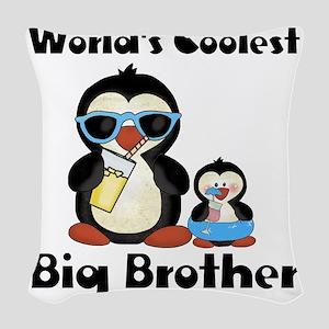 big brother penguin Woven Throw Pillow