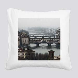 Bridges of Florence Italy Square Canvas Pillow