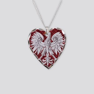 Polish Eagle Plaid Crest Necklace Heart Charm