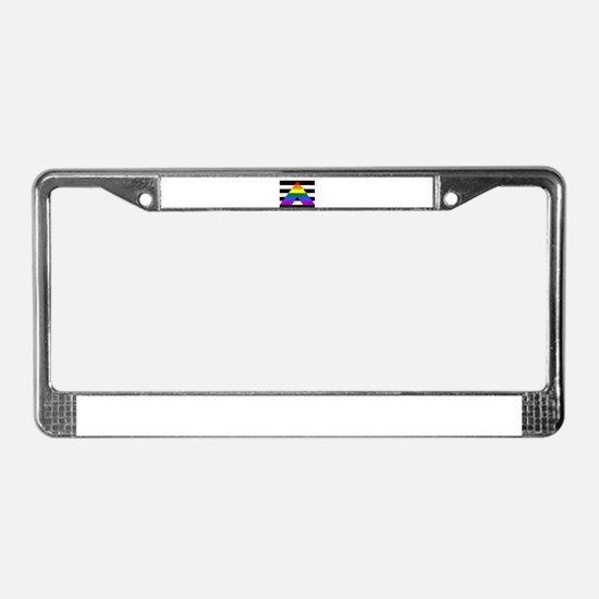 Straight Ally flag License Plate Frame