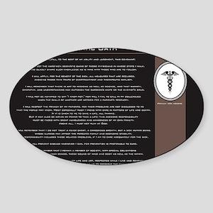 hippocraticoathblackandwhitebank Sticker (Oval)