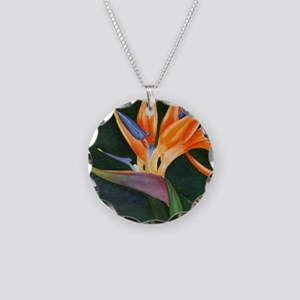 Bird of Paradise (Oil) Necklace Circle Charm