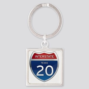 Interstate 20 - Texas Square Keychain