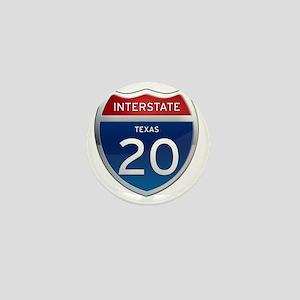 Interstate 20 - Texas Mini Button