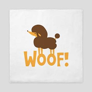 Cute little poodle dog WOOF Queen Duvet