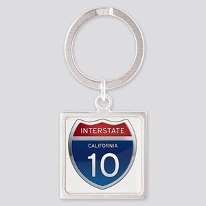 Interstate 10 - California Square Keychain