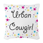 urban cowgirl stars Woven Throw Pillow