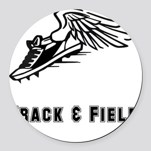 Track Field Black Only Round Car Magnet
