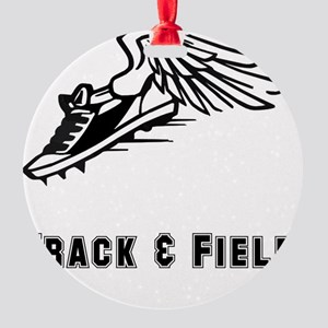 Track Field Black Only Round Ornament
