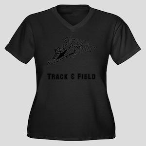 Track Field  Women's Plus Size Dark V-Neck T-Shirt