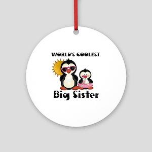 big sister penguin Round Ornament