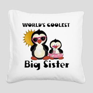 big sister penguin Square Canvas Pillow