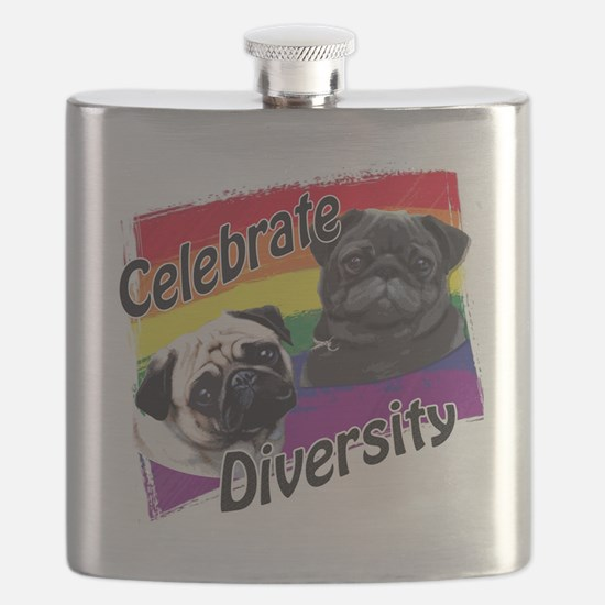 Celebrate Diversity Gay Pride Pugs Flask