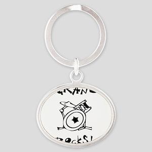 MyGrandmaRocksDrums Oval Keychain