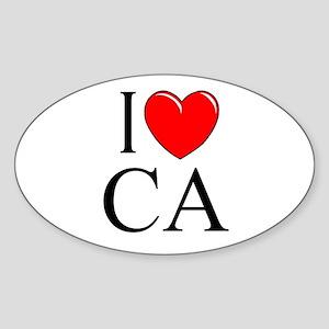 """""""I Love CA"""" Oval Sticker"""