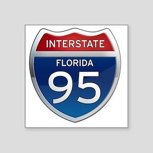 "Interstate 95 - Florida Square Sticker 3"" x 3"""