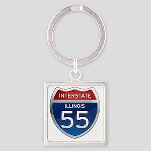 Interstate 55 - Illinois Square Keychain
