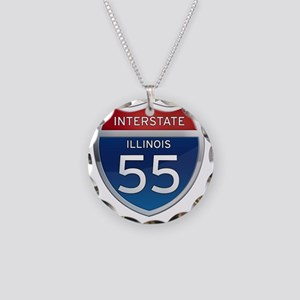 Interstate 55 - Illinois Necklace Circle Charm