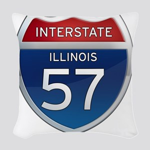 Interstate 57 - Illinois Woven Throw Pillow