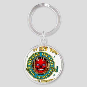 RIKERS_ISLAND_5x4_pocket Round Keychain