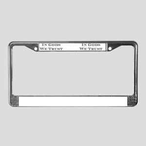 In_Gods_stacking mugs License Plate Frame