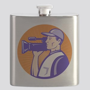 cameraman filmcrew with video movie camera Flask
