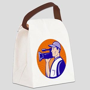 cameraman filmcrew with video mov Canvas Lunch Bag