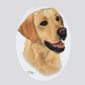 Yellow Lab 2 Oval Ornament