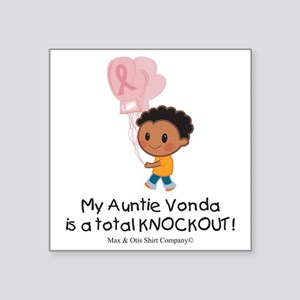 "breast-cancer-total-knockou Square Sticker 3"" x 3"""