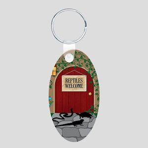 reptileswelcome5x8 Aluminum Oval Keychain