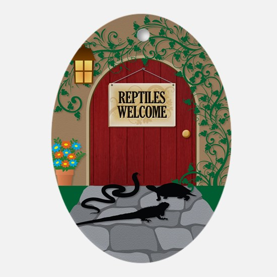 reptileswelcome5x8 Oval Ornament