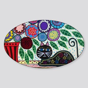 House Cat and House Plant Sticker (Oval)