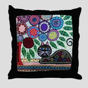 House Cat and House Plant Throw Pillow