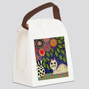 White House Cat Canvas Lunch Bag