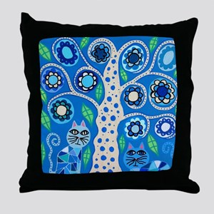 Blue Cats Throw Pillow