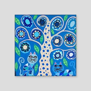 "Blue Cats Square Sticker 3"" x 3"""