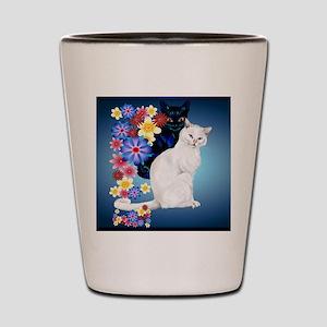 CalenderBlack and White Garden Kitties. Shot Glass