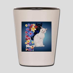 Black and White Garden Kitties..2_mpad Shot Glass