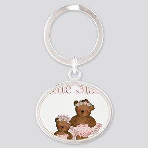 little sister ballet bears Oval Keychain