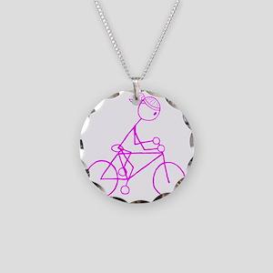 biker pink Necklace Circle Charm