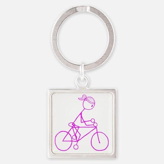 biker pink.gif Square Keychain