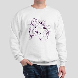 Purple Scroll - White Font Sweatshirt
