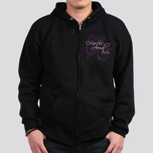 Purple Scroll - White Font Zip Hoodie (dark)