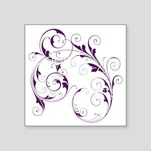 "Purple Scroll - White Font Square Sticker 3"" x 3"""