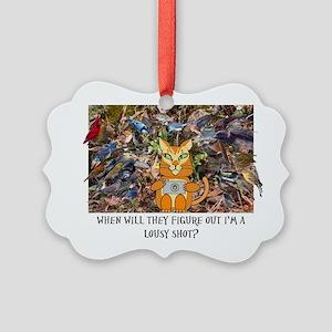 birding cat Picture Ornament