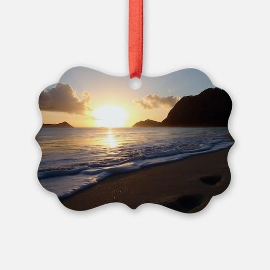 foot prints waimanalo beach Ornament