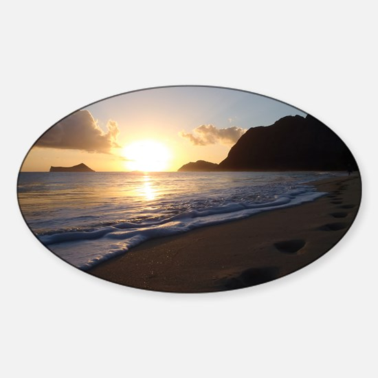 foot prints waimanalo beach Sticker (Oval)